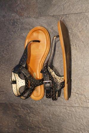 Buffalo London Toe-Post sandals black-light brown leather