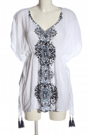 Buffalo Blouse longue blanc-noir motif de fleur style décontracté