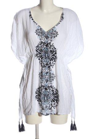 Buffalo Long-Bluse weiß-schwarz Blumenmuster Casual-Look