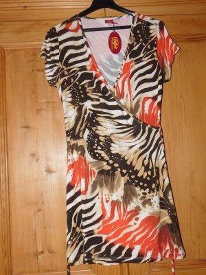 BUFFALO: neues Strandkleid, Wickelkleid, schöner Druck, Kurzarm, Größe 42