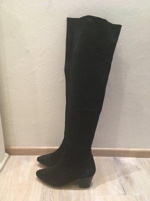 Buffalo Botas sobre la rodilla negro Cuero