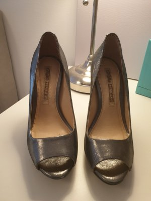 Buffalo London Peep Toe Pumps silver-colored-dark grey