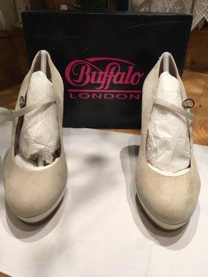 Buffalo London Décolleté con plateau beige chiaro Pelle
