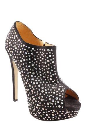 Buffalo Reißverschluss-Stiefeletten schwarz-silberfarben extravaganter Stil