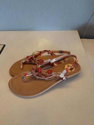 Buffalo High-Heeled Toe-Post Sandals multicolored