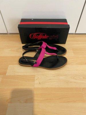 Buffalo Sandalen Gr.41 pink schwarz Lederschuhe
