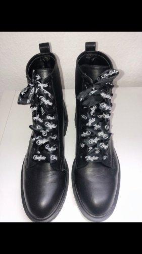 Buffalo Stiefel Schuhe flach schwarz Leder blogger