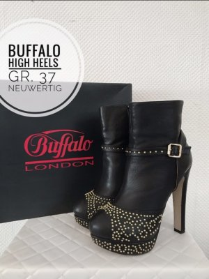 Buffalo Stiefel silk Leder 37 schwarz Nieten Gold Stiefeletten blogger vintage boho