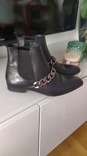 Buffalo Stiefeletten Boots Leder schwarz Gr 38