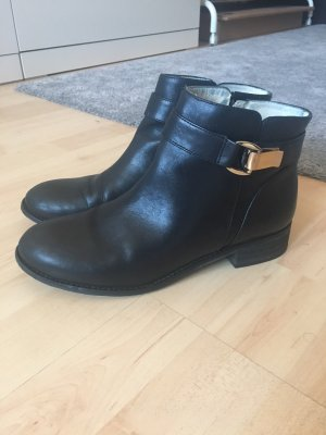 Buffalo Booties black-gold-colored leather