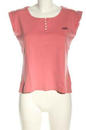 Buffalo T-Shirt pink Schriftzug gestickt Casual-Look