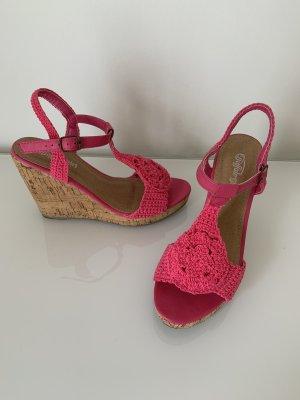 Buffalo Wedge Sandals neon pink
