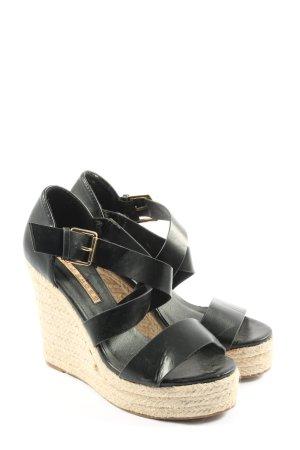 Buffalo Wedges Sandaletten schwarz-wollweiß Casual-Look