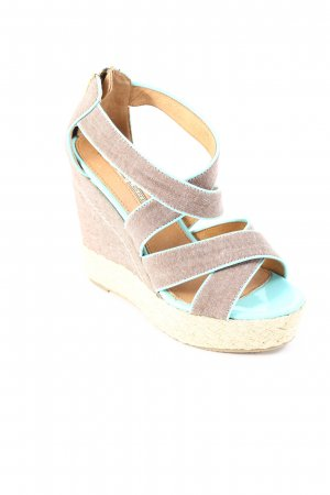 Buffalo Wedge Sandals light brown-turquoise casual look