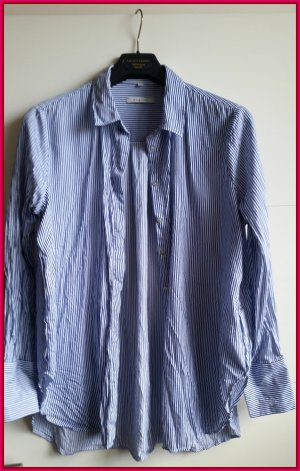 Bugatti Shirt Blouse dark blue-white cotton