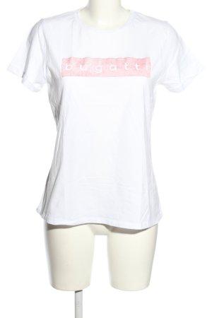 Bugatti T-shirt bianco-rosa Stampa a tema stile casual