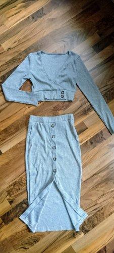 Jupe tricotée gris clair