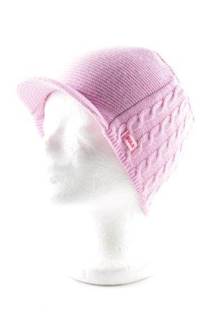 Bula Cappello a maglia rosa punto treccia stile casual