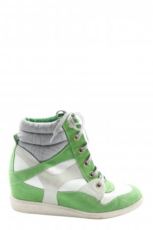 Bull Boxer Sneakresy na obcasie zielony-biały W stylu casual