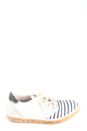 Bullboxer Schnürschuhe weiß-blau Streifenmuster sportlicher Stil