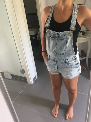 Dungarees steel blue-white