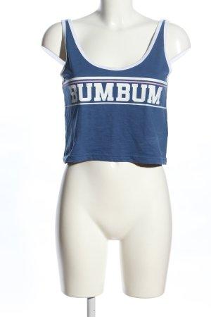 BumBum Cropped Top blau-weiß Schriftzug gedruckt Casual-Look