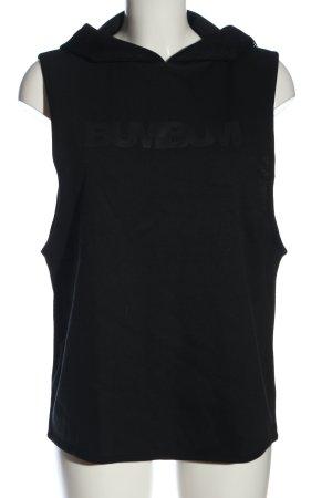 BumBum Camicia con cappuccio nero caratteri stampati stile casual