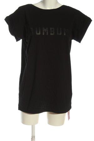 BumBum Oversized shirt zwart-lichtgrijs gedrukte letters casual uitstraling