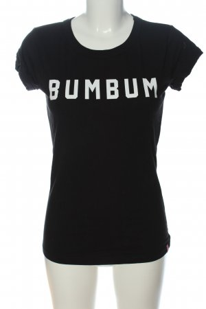 BumBum T-shirt imprimé noir-blanc lettrage imprimé style décontracté