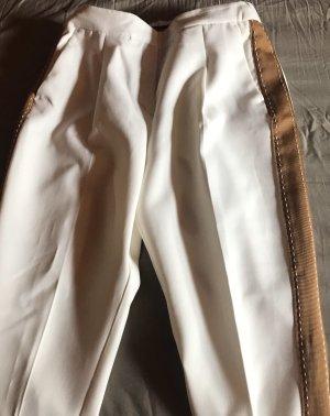Bundfalten Hose Zara Basic Gr 38 mit goldenen Seitenstreifen