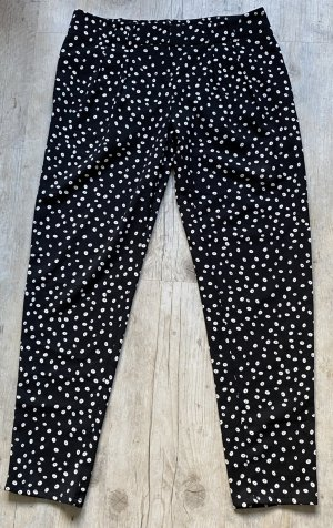 Mango Bandplooibroek zwart-wit Polyester