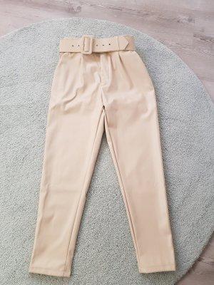 SheIn Skórzane spodnie kremowy-jasnobeżowy Poliuretan