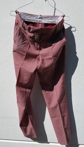 Bundfaltenhose mit Hahnentritt-Muster (rot-beige)