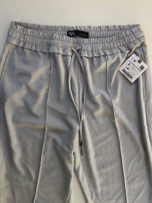 Zara Pantalone a pieghe azzurro-grigio chiaro