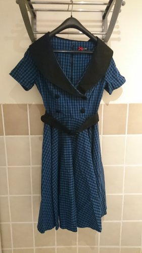 Bunny 50s Bridget Gingham Swing Dress in Black and Navy