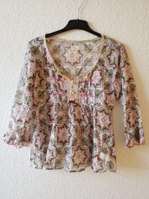 bunt gemusterte Tunika Bluse mit raffiniertem Reißverschluss an der Seite (siehe 3. Bild)