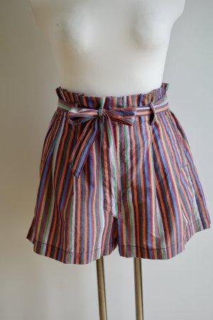 Bunt gestreifte Paperbag Shorts