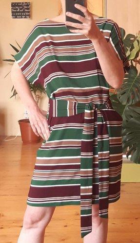 Bunt gestreiftes Vintage Sommerkleid in Dunkelgrün Bordeau Camel von Forever21