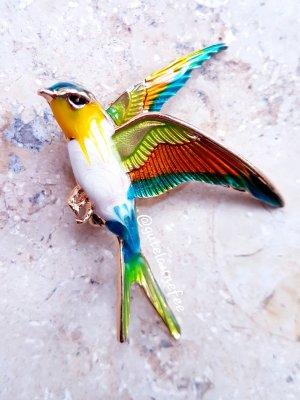 Bunt Schwalbe bunt handbemalt emailliert Vintage Vogel