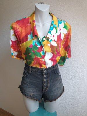 Bunte 90er Oversize Vintage Bluse / Hawaii Hemdbluse