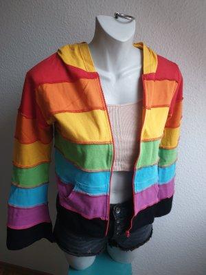 Bunte 90s Vintage Jacke, Cardigan mit Kapuze