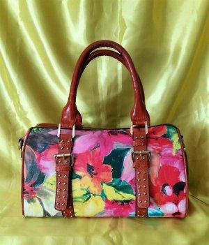 Bunte Handtasche von Vel Valerio mit Blumenprint - 2x ausgeführt, sehr schön