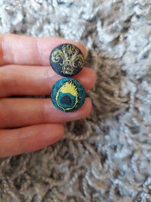 unbekannte Bouton bleu-gris vert
