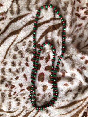 Collar de perlas verde-rojo madera