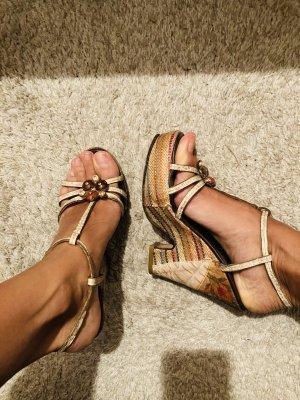 Bunte Sandalen mit Keilabsatz, Gr 36