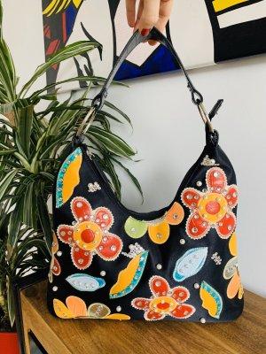 Bunte Tasche mit Blüten Blumen Strass Stickerei Luxustasche
