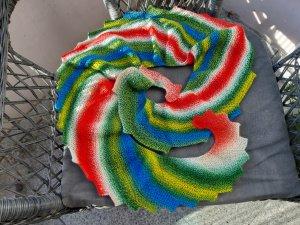 Bunter Drachenschal, Schal mit Zacken und Spiralform, rot-blau-grün