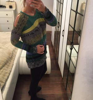Bunter Replay Strick-Pullover mit Cutouts Gr. S