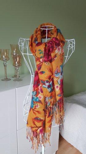 Bunter Schal mit Blumenmuster Senf/Blau/Pink