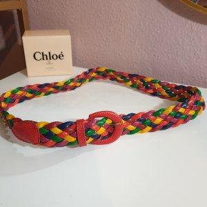 Vintage Cinturón de cuero de imitación multicolor tejido mezclado